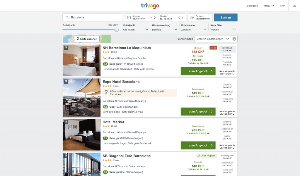 Progressive Web Apps Example No. 1 - Trivago